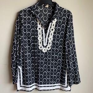 Michael Kors black white tunic top Large